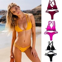 Wholesale Hot Bikini Bandeau - 2017 Sexy Bandeau Bikinis plus size Women Swimsuit Brazilian Bikini Set Bathing Suit Push Up Swimwear Hot Biquini Swim Wear