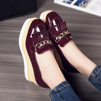 Wholesale Thick British Women - New Fashion Women Single Shoes British Style Women Shoes Mid Heel Slip on Square Toe Thick Sole Short Loafers Size 32-43