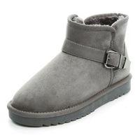 Wholesale ladies army boots - Fashion Faux Fur Leather Warm Women's Boots Winter Ankle Snow Boots Ladies Plush Snow Shoes Buckle Cotton Flat Shoes Size 35-40