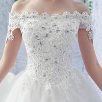 2019 top quality US style high-grade bateau brush Rhinestones 120 cm tailing white floor-length & sweep train crystal bride Wedding dresses