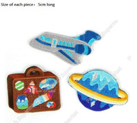 Wholesale Shuttle Star - QUALITY Planet Travel Space Shuttle luggage case Alien Aliens Star UFO Iron On Patches For Clothing TV Movie Embroidered Badge