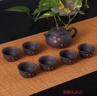 Wholesale Hand Painted Ceramic Pots - Authentic Yixing half hand pot, purple clay pot, hand painted clay pot, ceramic kettle, Kung Fu Teapot Set