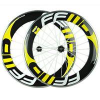 ingrosso ruote ciclo giallo-Yellow Decals Fast Forward FFWD Ruote in carbonio 88mm 3K Copertoncino Copertoncino Full Carbon Bike Bicyle con mozzi Novatce 271/372