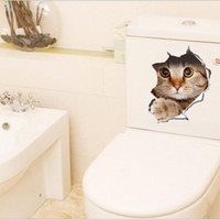 Wholesale Stained Sticker - 3D Cats Wall Sticker Toilet Stickers Hole View Vivid Bathroom Room Decoration Animal Vinyl Decals Art Sticker Wall Poster
