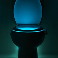 Wholesale Bathroom Sensors Lights - New Colorful Toilet Nightlight Human Motion Sensor Automatic LED Night Lights Lamp Bowl Bathroom Night Light 8 Color Lamp Veilleuse