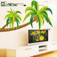Maruoxuan Beach Tall Palms Coconut Tree Водонепроницаемые виниловые съемные наклейки для стен Parlor Kids Bedroom Home Decor Mural Decal