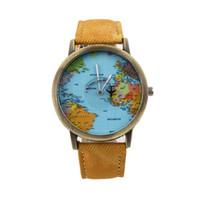 Wholesale Red Map - World Map Reloj Hombre Clock Globe Graduation Gift Clock Women Vintage Men Denim Fabric Ladies Watch Women Relogio Feminino Watches