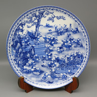 Antique Chinese Blue and white porcelain Hand-Painting Figura cem filhos placa Qianlong Marks