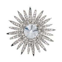 Wholesale Wholesale Round Bridal Brooches - 2 Inch Gold and Silver Tone Clear Rhinestone Crystal Diamante Round Star and Sun Flower Bridal Pin Brooch