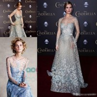 Wholesale elie saab beaded lace for sale - Group buy Cinderella In Elie Saab Couture Red Carpet Celebrity Dresses Modest Sky Blue Lace Pearls Illusion Long Sleeve Formal Prom Evening Gowns
