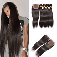 Wholesale Hair Top Closure 4x4 - 3 Bundles Silky Straight Peruvian Brazilian Virgin Hair Extensions With 1pcs Top Lace Closure 4x4 Unprocessed Remy Human Hair Weave