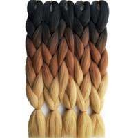 "Hot selling 10 packs Black Brown Ombre Kanekalon Crochet Braiding Hair 24"" 65CM 100g piece Synthetic High Temperature Fiber Jumbo Braid Hair Extension"