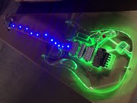 Wholesale Led Guitar Lights - Customzied Acrylic glass Electric Guitar with LED Light,chrome hardware,the light color can be adjusted by the Red switch