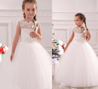 Wholesale Designer Dresses For Graduations - 2017 White Organza Ball Gown Flower Girls Dresses Applique Lace Scalloped Neck Full Length Princess Kids Gowns For Wedding