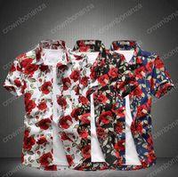 Wholesale Men Fashion Formal Shirt - 2017 Fashion Men Slim Dress Shirt New Arrived Formal Short Sleeve Floral Print Turn Down Collar Men Shirts Plus size M~5XL