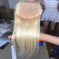 Wholesale white hid - 4*4 Silk Base Closure Blonde 613 Peruvian Straight Virgin Human Hair Free Part With Baby Hair For Black White Women Hidden Knots