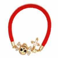 Wholesale Skeleton Head Bracelet - Charms Bracelet Chain Bracelet Rhinestone Leopard Head 18K Gold Skeleton Pendant Jewelry For Women Wrap Wristband 2060014495B 2060029555A