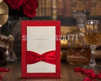 Wholesale Vintage Sample Card - Wholesale- Free Shipping 1 Set Sample Red Color Kits Vintage Wedding Invitations Cards With Ribbons +1 Card +1 Envelope +1 Seal