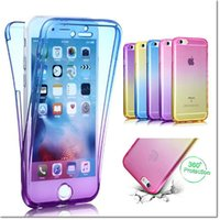 Wholesale Thin Tpu Iphone Cover - Ultra Thin 2in1 color 360 ful Soft TPU Front Case + Shockproof Back Case 360 Degree Full body Protect Cover for Iphone 6 6s plus 7 7plus