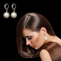 Wholesale Sterling Loop Earrings - 12pcs lot 925 Silver Color White Glass Pearl Crystal Ball Earrings Dangle Loop Clip Earrings for Women Cute Accessory for Party Wedding