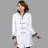 Wholesale Chinese Style Jackets Women - Wholesale- High Quality White Women's Long Jacket Traditional Chinese style Coat Flowers Mujer Chaqueta Size S M L XL XXL XXXL Mny004A