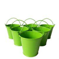 ingrosso mini vaschette verdi-D6 * H5CM Metallo a basso costo verde Favor Pail Tin bucket Secchio di zinco Decorativo bomboniera Mini portacandele per secchio