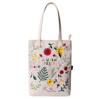 Wholesale Handbag Tote Korea - Spring Blossoms Stitchwork Japan Korea Style Oxford Women's Single Shoulder Bag Handbag Tote Female Daily Casual Shopping Beach Bag