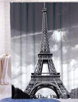 Wholesale Paris Shower Curtain - Wholesale- New Paris Eiffel Tower Pattern Design Home Bathroom Polyester Shower Curtain Waterproof 12 Hooks