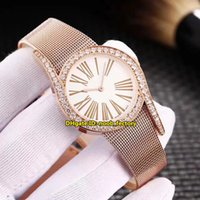 Wholesale Womens Gold Diamond Bracelet - Luxury Brand High Quality Limelight Gala 32MM Quartz Womens Watch G0A41213 Rose Gold Diamond Bezel White Dial Steel Bracelet Ladies Watches