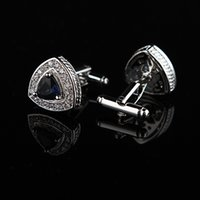 Wholesale Mens Designer Jewelry Brands - Jewelry shirt cufflink for mens designer Brand Crystal Blue Cuff link Button gift High Quality Luxury Wedding Free Shipping