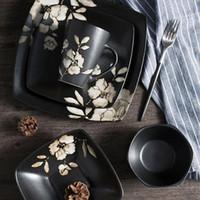 louça de cerâmica japonesa venda por atacado-Utensílios de mesa de Cerâmica japonesa Conjunto de Jantar de Jantar de Impressão Conjuntos de Louça Da Cozinha Pratos de Prato para Restaurante Frete Grátis ZA4862