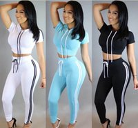 Wholesale Yoga Outfit Wholesalers - Wholesale Women Two Piece Outfits Pants Set Casual Sports Rompers Jumpsuit Long Pants 2 Piece Set O-Neck Crop Tops Tracksuits Free Shipping