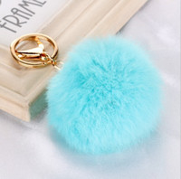 Wholesale Stainless Steel Men Earrings Blue - Real Rabbit Fur Ball Keychain Soft Fur Ball Lovely Gold Metal Key Chains Ball Pom Poms Plush Keychain Car Keyring Bag Earrings Accessories