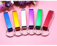 Wholesale Customized Keychain Bottle Opener - 2017 Portable Aluminum Alloy Bottle Opener with keyChain Pocket Customize Logo Cap Opener for Promotion Gift KJ003