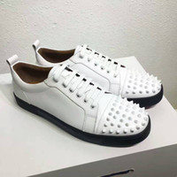 Wholesale Name Brand Shoes For Men - Name Brand Red Bottom Sneakers For Men with Spikes Black White Leather Fashion Casual Mens Shoes ,2016 Luxury Men Leisure Trainer Footwear