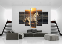 Wholesale Large Sunset Canvas - 5 Pcs Large HD White Horse Seascape Sunset Landscape Canvas Print Painting for Living Room Modern Decoration Wall Art Picture Gift Wholesale