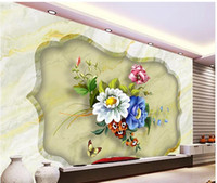 Non Woven painting marble tile - 3D marble hand painted pattern background wall D tiles murals mural d wallpaper