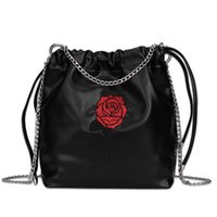 Wholesale New Fashion High Quality PU Leather Women Chain Shoulder Bag Crossbody Bag Large Capacity Female Rose Embroidery Drawstring Fashion Bag