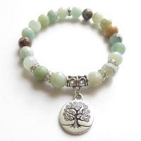 Wholesale Unique Wrist Jewelry - Tree Of Life Mala Bracelet Yoga Jewelry Wrist Faced Amazonite Meditation Mala Bracelet Healing Birthday Unique Gift NS1121