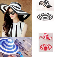 Women's Wide Brim Summer Beach Sun Hat Paille Rayé Floppy Élégant Bohemia Cap Vacation Beach Sun Hat 3 couleurs KKA2517