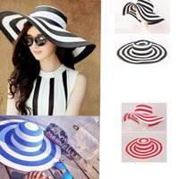 Barato Chapéu De Férias Sol-Women's Wide Brim Summer Beach Sun Hat Straw Striped Floppy Elegante Bohemia Cap Vacation Beach Sun Hat 3 cores KKA2517