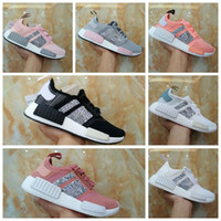 Wholesale mens sequins - NMD R1 Primeknit Tri color Pink Black Triple OG Running Mens Shoes Nmds Runner Primeknit Sneakers Originals Classic Casual Shoes Sequins