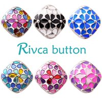 Wholesale Epoxy Bangle - Wholesale- D02502 Hot Wholesale High Quality18mm Alloy Epoxy Fashion Snap Button Bracelet&Bangles For Women Fit Rivca Snap Button Jewelry