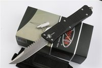 Drop Shipping Troodon Marfione Custom Combat Troodon Recurve Knife D2 Singe Edge Drop Point Stone Washed Blade Aviation Poignée en aluminium Kniv