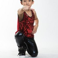 Wholesale Leather Pants For Children - 2016 new Children's stage wear clothing child thin style black leather pants performance for children Hip-hop costumes