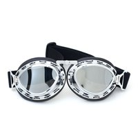 Wholesale Vintage Dustproof - 2017 New Vintage motorcycle goggles dustproof goggles sliver steampunk goggles cheap coating sport sunglasses for harley,vintage pilot