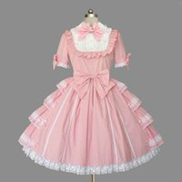 Wholesale College T Shirt Dresses - High-neck Gorgeous Lovely Lace Lotus Leaf Pleated Bow Cosplay Prom Dress College Wind Ball Gown 2018 Real Photo Customizable