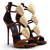 ingrosso sandali in cotone marrone-Nuove donne marroni Sandali Shell Stone Stiletto sandali con tacco alto donna stivali cinturino alla caviglia Open Toe sandali da discoteca spiaggia donne scarpe taglia 41