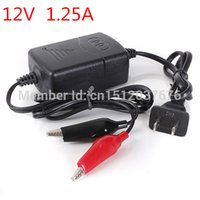 Wholesale 12v Atv - Wholesale- Black Motorcycle ATV 12V 1.25A Smart & Compact Battery Charger Tender Maintainer FREE SHIPPING