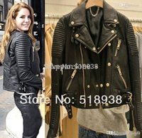 Wholesale Real Leather Motorcycle Jackets - Wholesale-2015 Women autumn winter basic fashion real genuine Leather lambskin slim jacket quilted Motorcycle biker streetwear outerwear